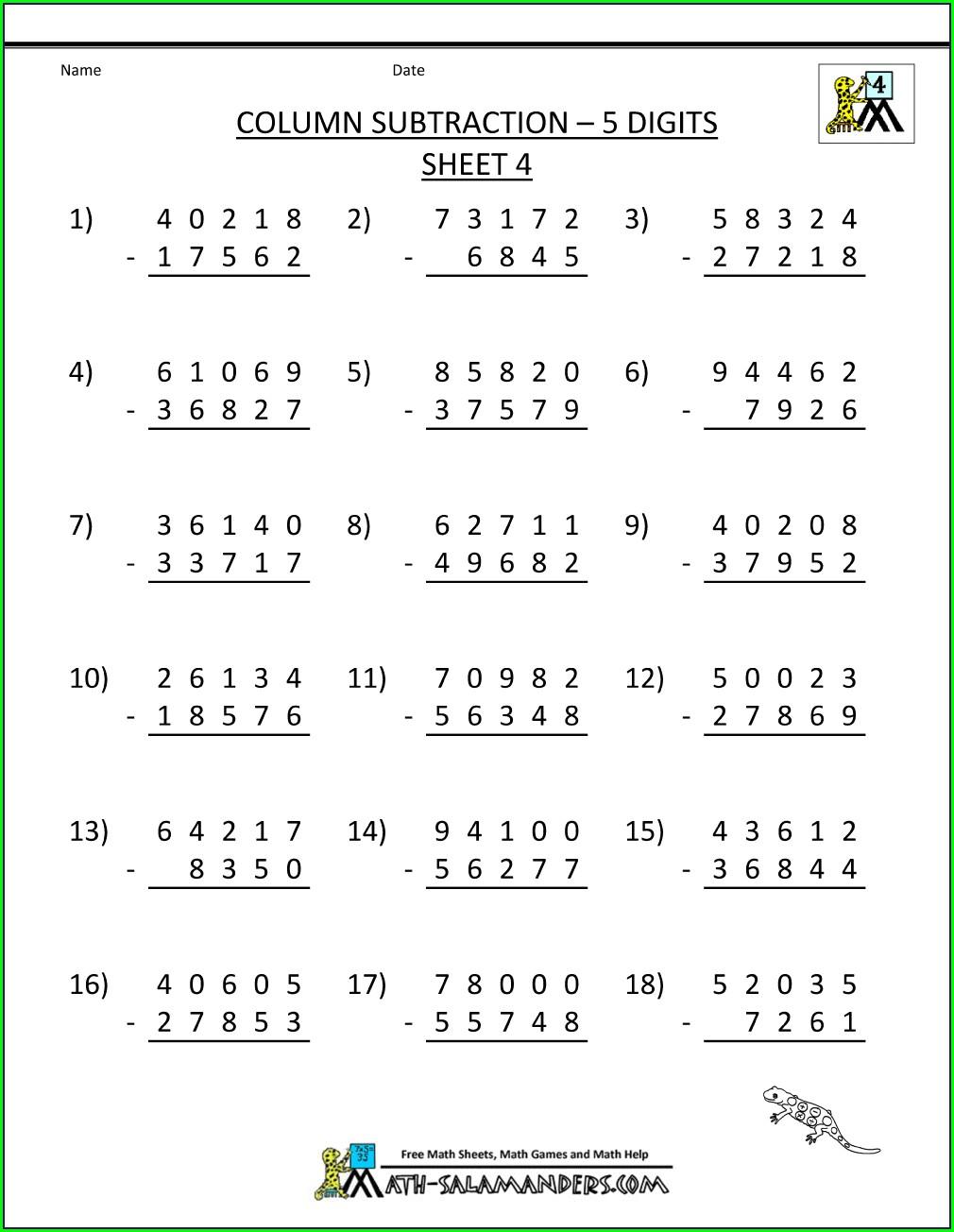 5th Grade Decimal Worksheets Grade 5