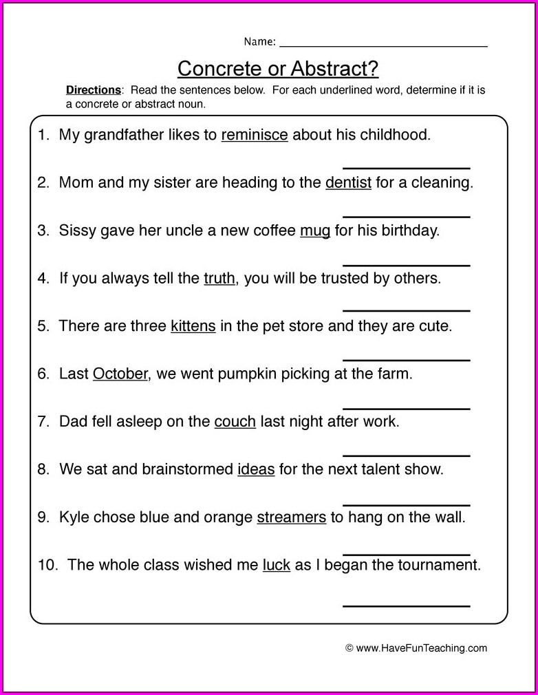 5th Grade English Worksheets Nouns