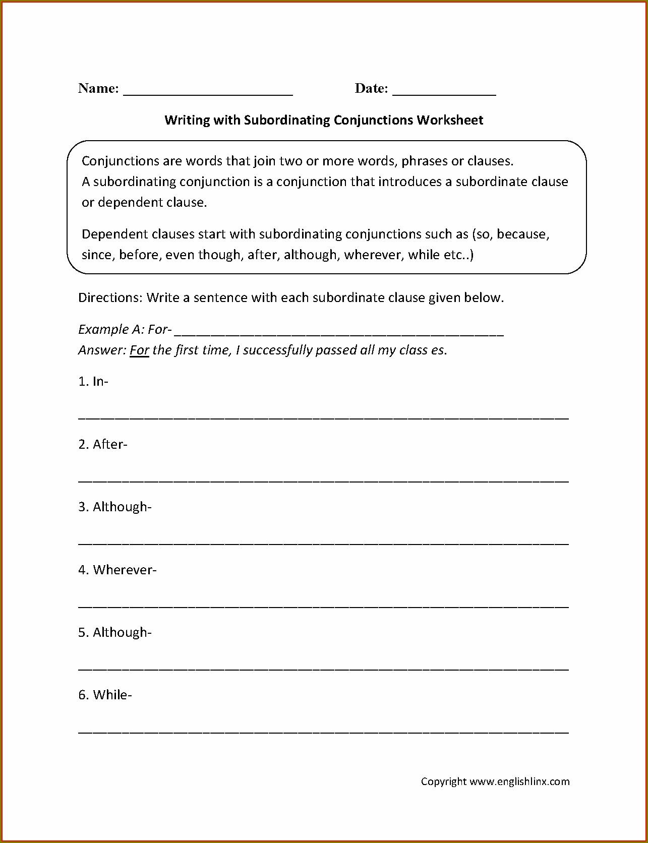 3rd Grade Coordinating Conjunctions Worksheet Worksheet