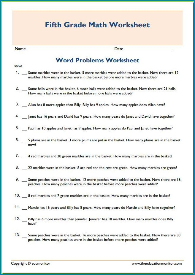 5th Grade Math Word Problems Worksheets