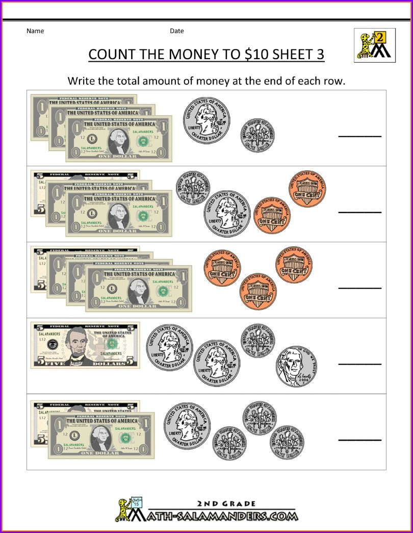 5th Grade Math Worksheets Counting Money