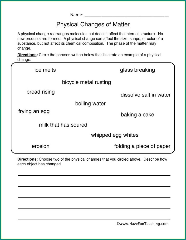 5th Grade Science Worksheets States Of Matter
