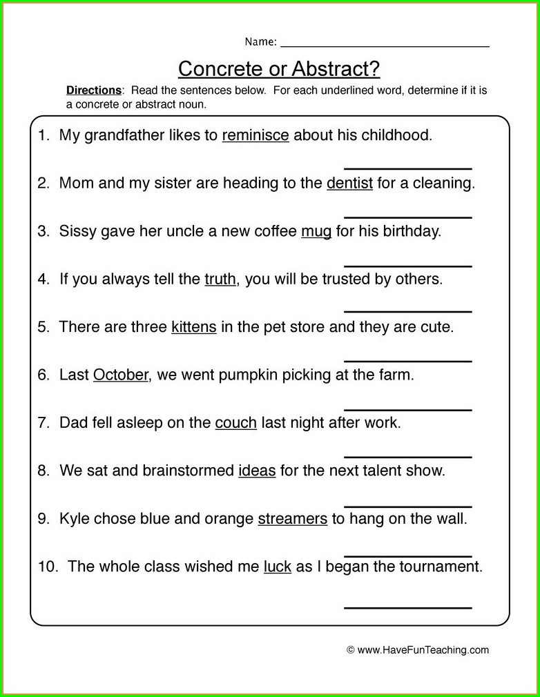5th Grade Worksheet On Nouns For Class 5