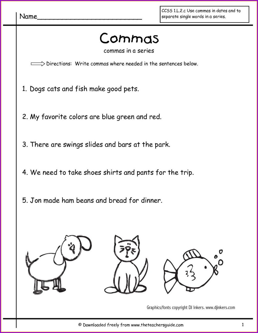5th Grade Worksheet Using Commas