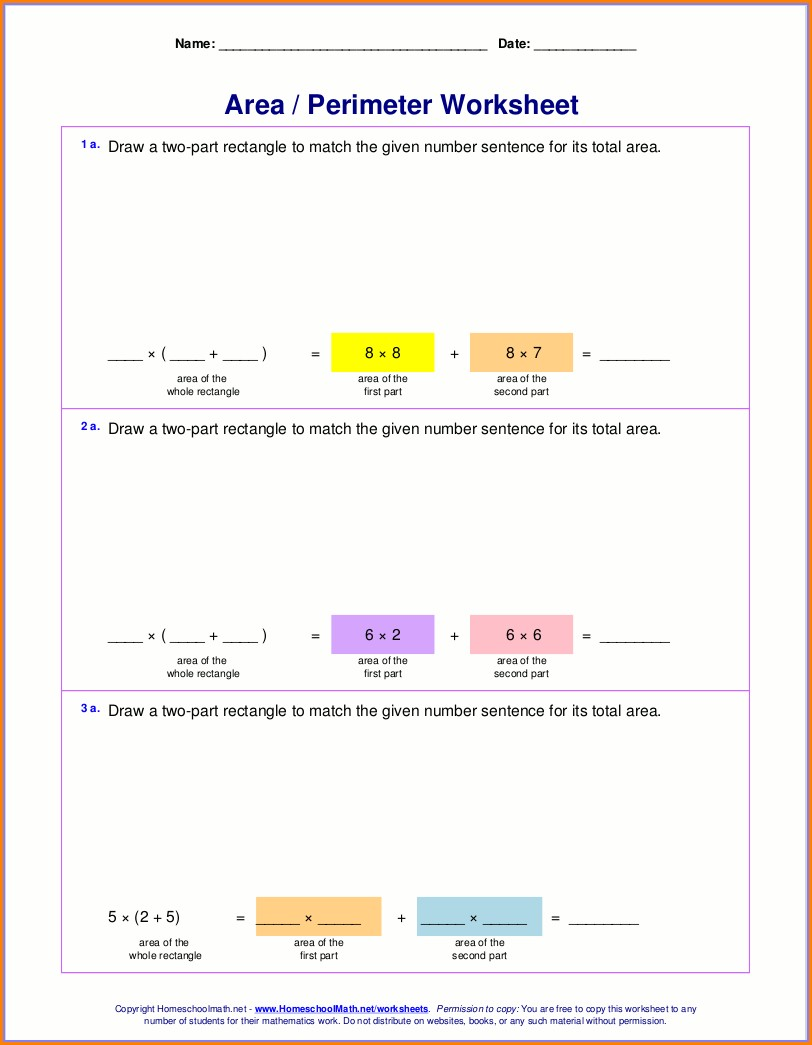 6th Grade Area And Perimeter Word Problems Worksheets