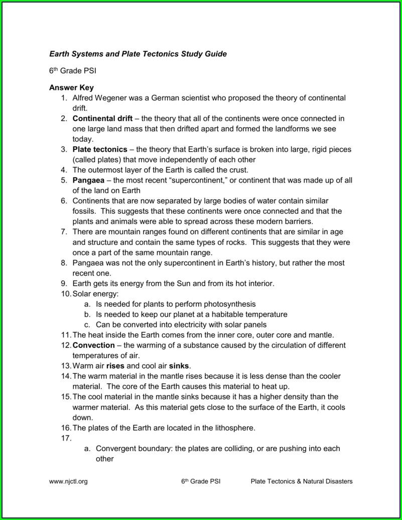 6th Grade Plate Tectonics Review Worksheet