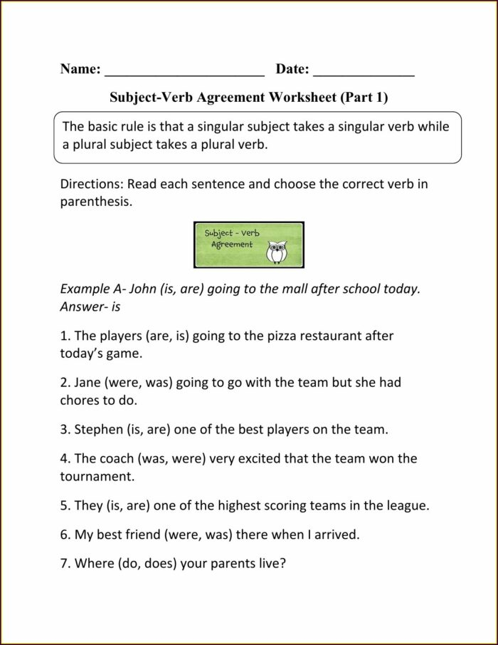 6th Grade Worksheet On Subject Verb Agreement