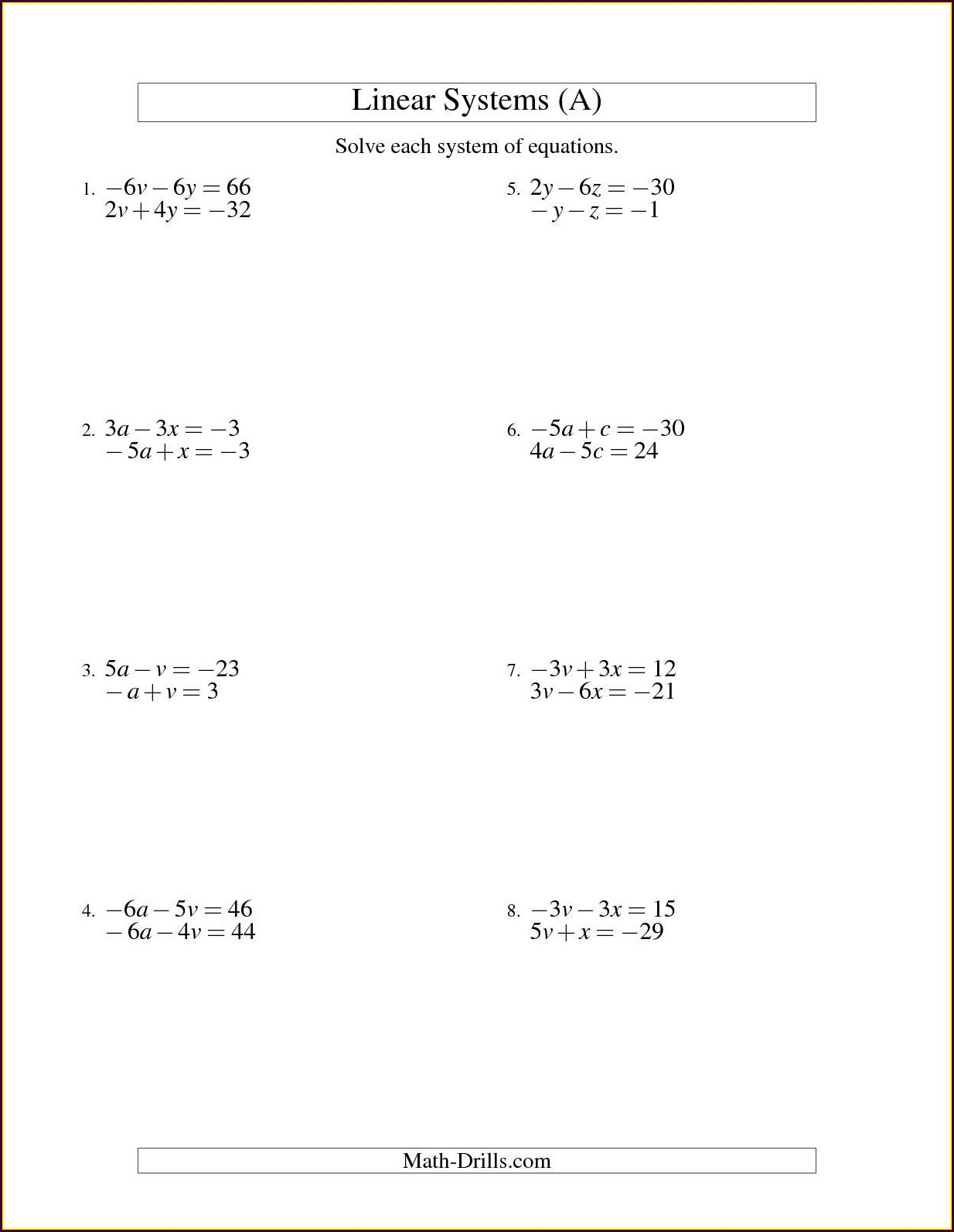 7th Grade 2 Step Equations Worksheet