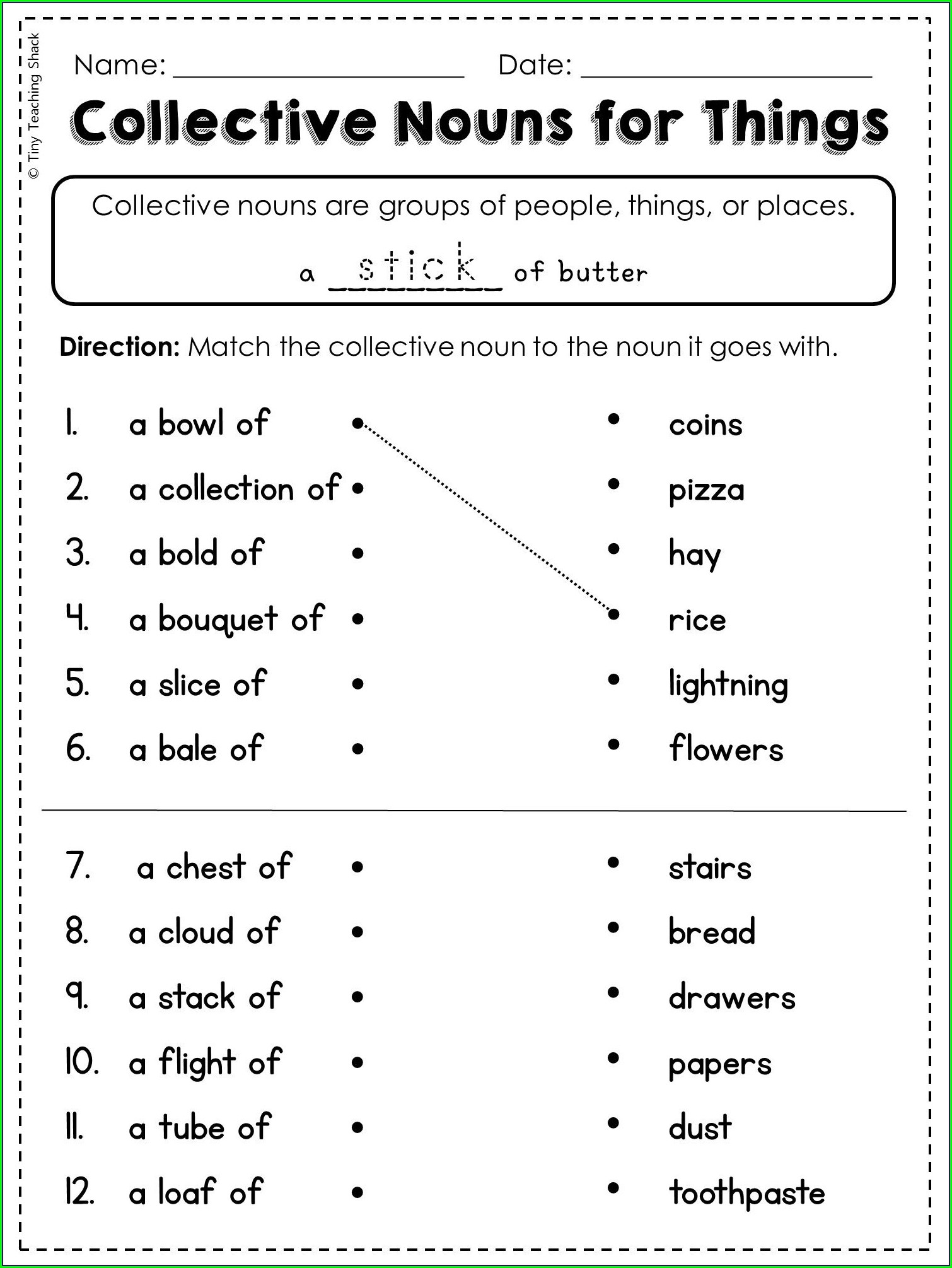 7th Grade Collective Nouns Worksheet