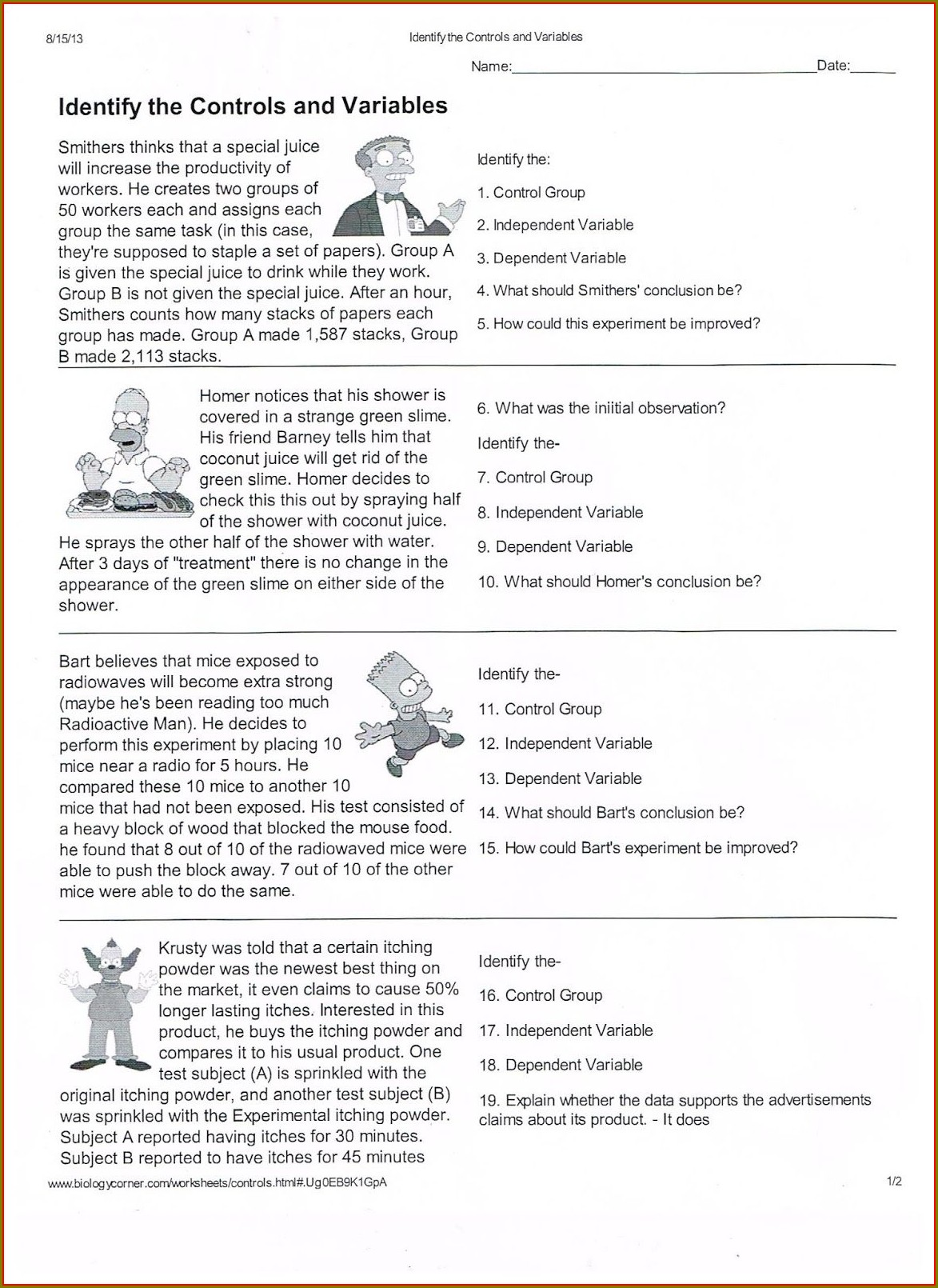 7th Grade Scientific Method Worksheet Pdf