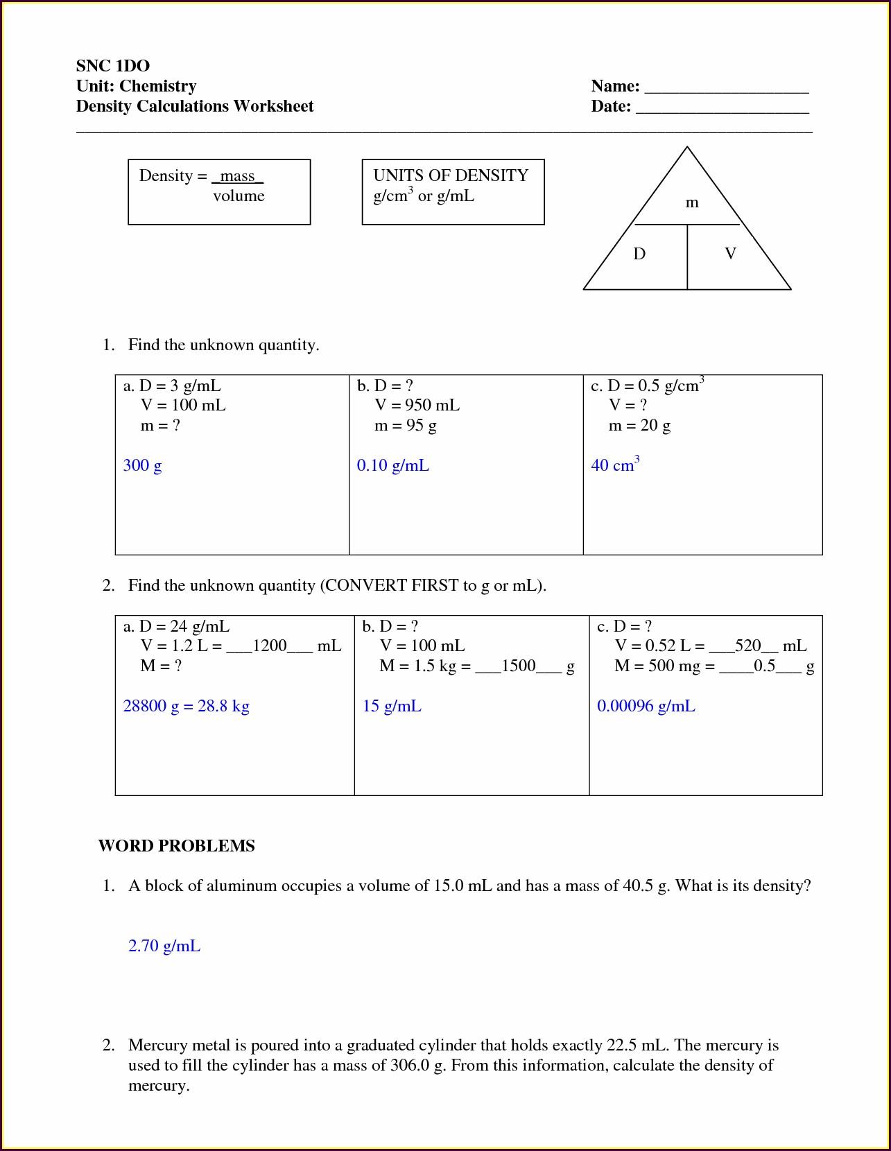 8th Grade Density Problems Worksheet