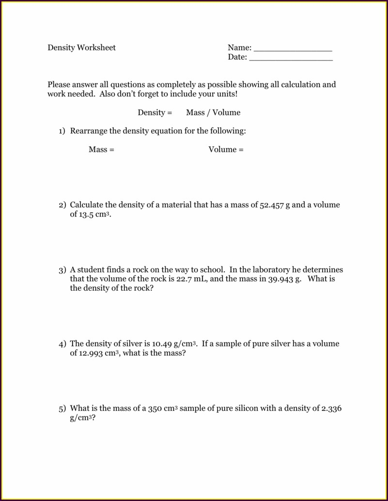 8th Grade Density Worksheet Answers