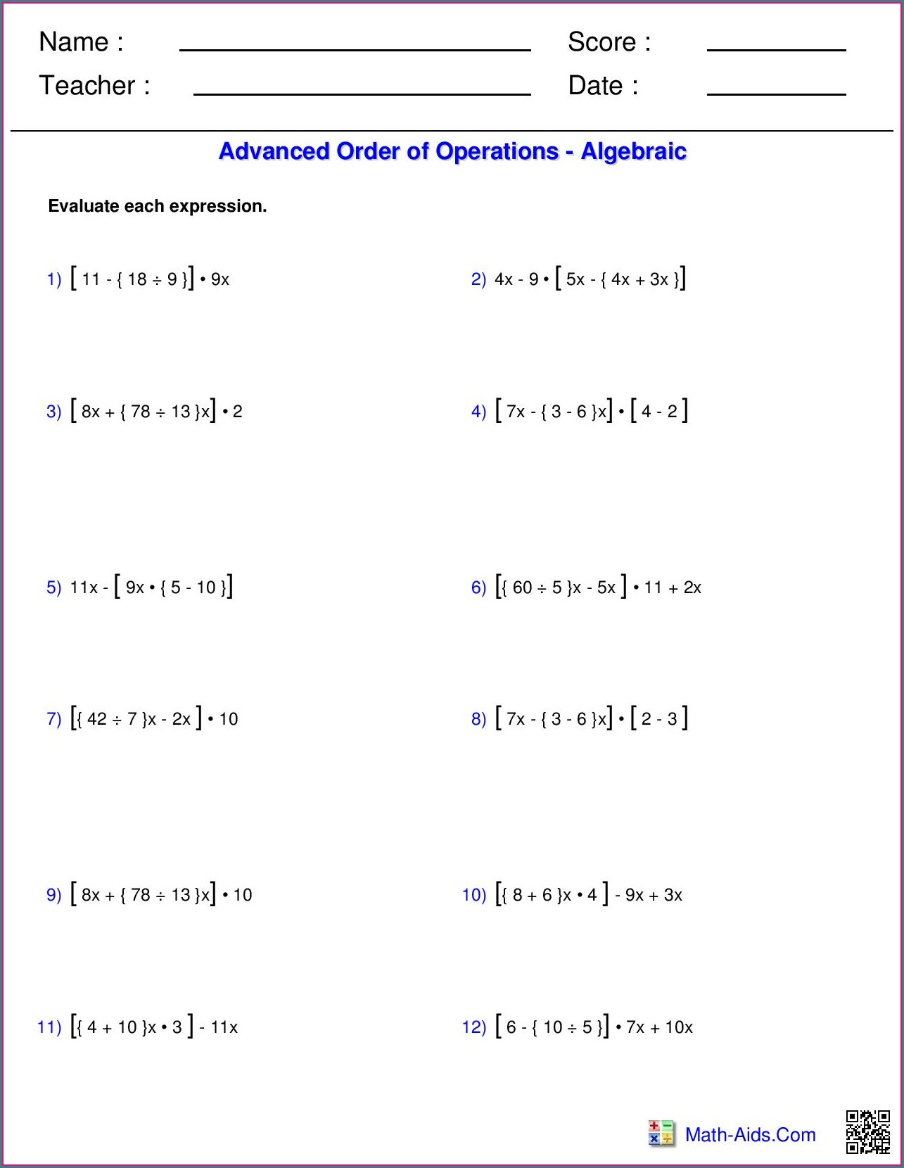 8th Grade Grade 9 Order Of Operations Worksheet