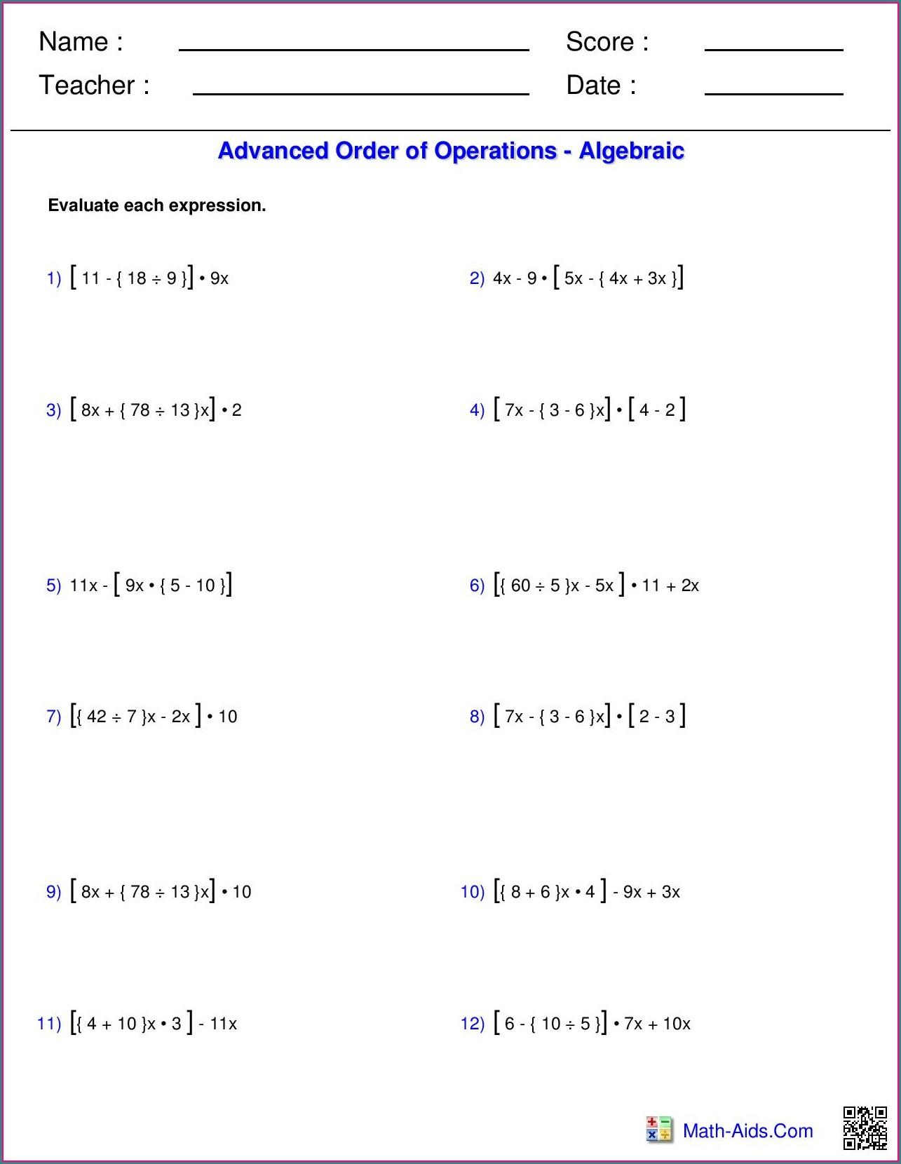 8th Grade Grade 9 Order Of Operations Worksheet