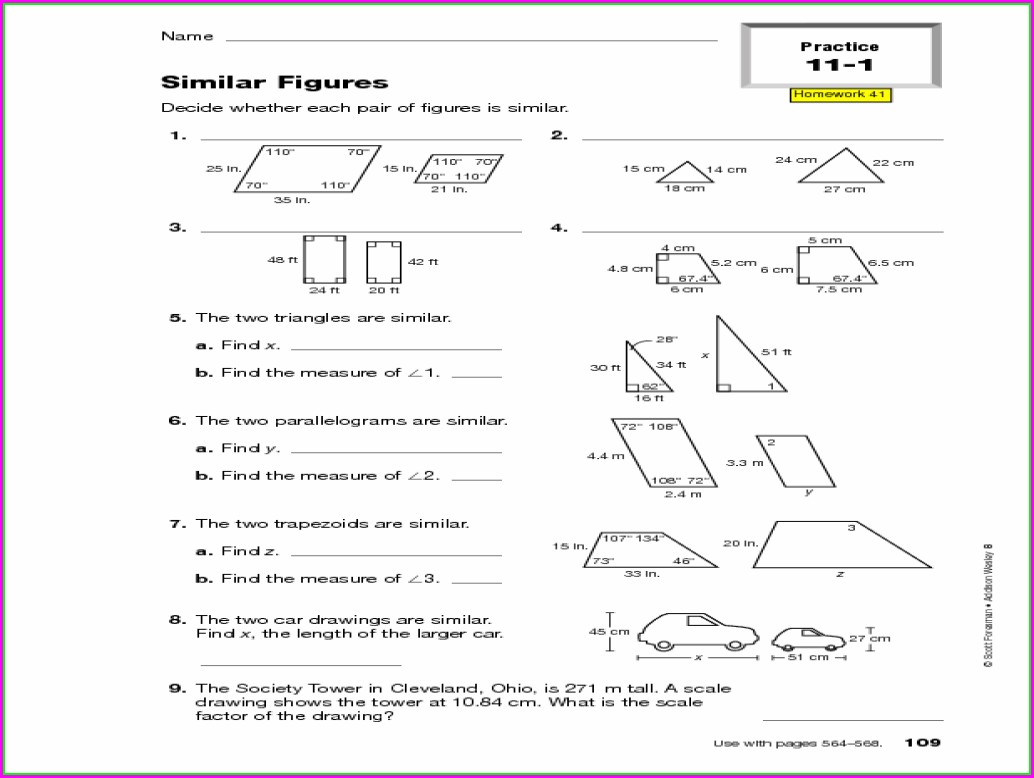 8th Grade Math Similar Figures Worksheets