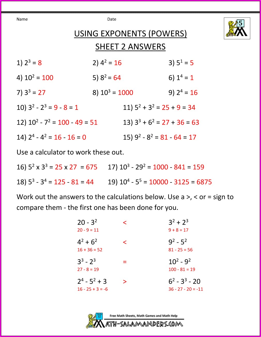 8th Grade Order Of Operations Worksheet Answer Key