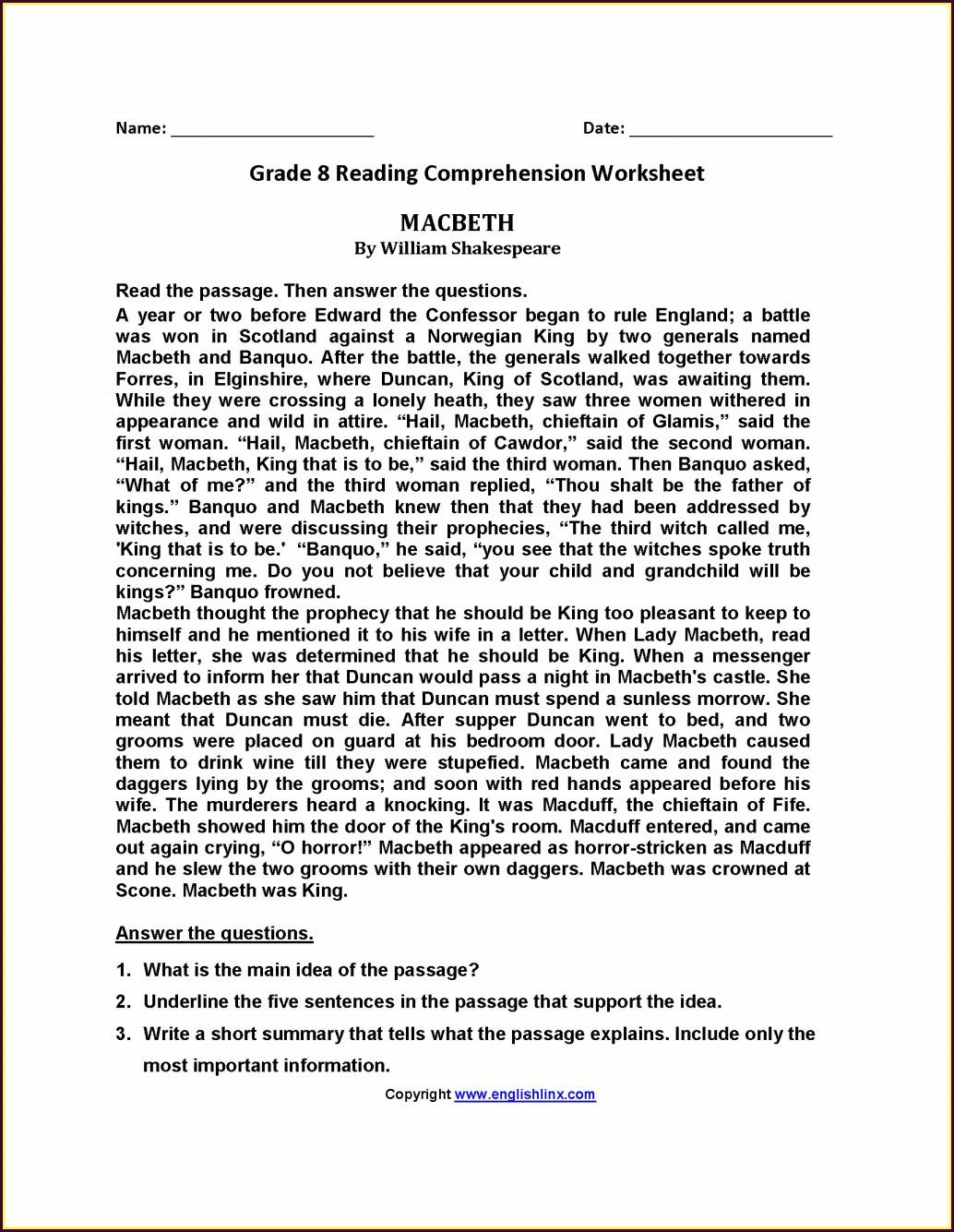 8th Grade Reading Worksheet