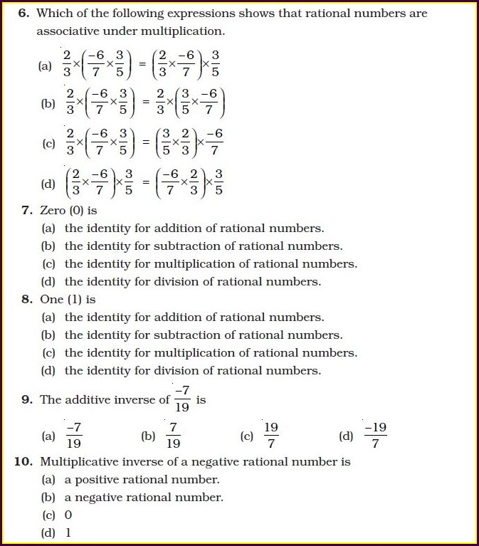 8th Rational Numbers Class 8 Worksheet