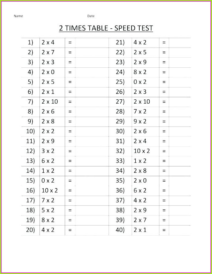 9 Times Table Worksheet Free Printable