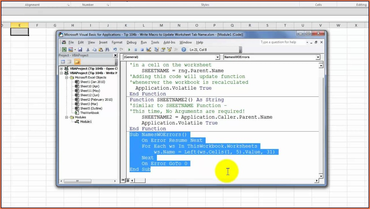 Access Vba Change Excel Worksheet Name