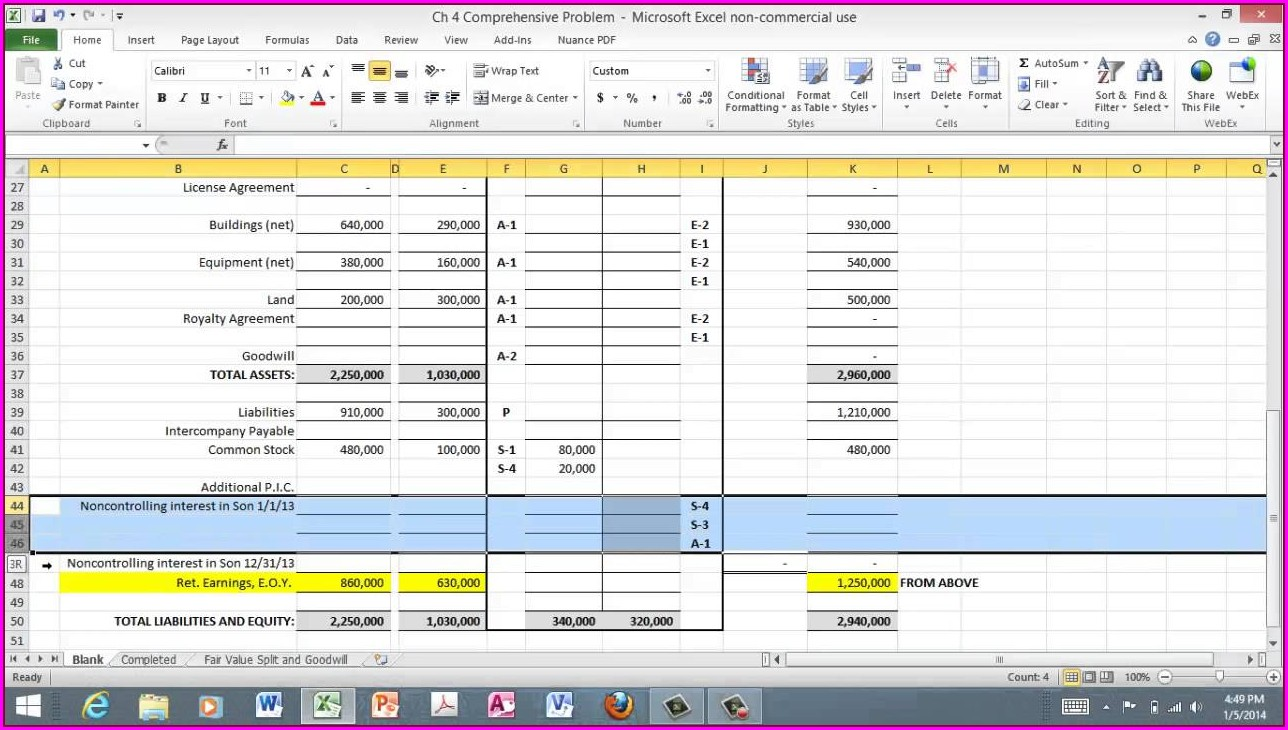 Accounting Consolidation Worksheet Excel