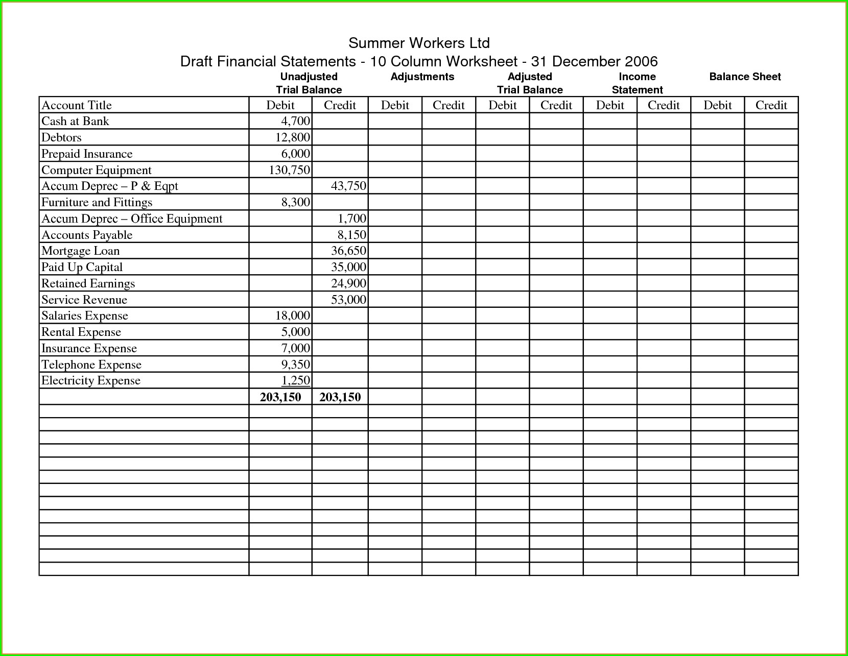 Accounting Worksheet In Excel