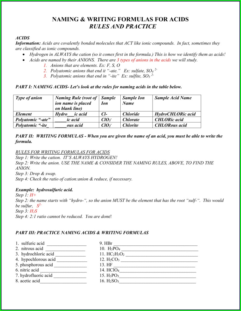 Acids Formula Writing And Naming Worksheet