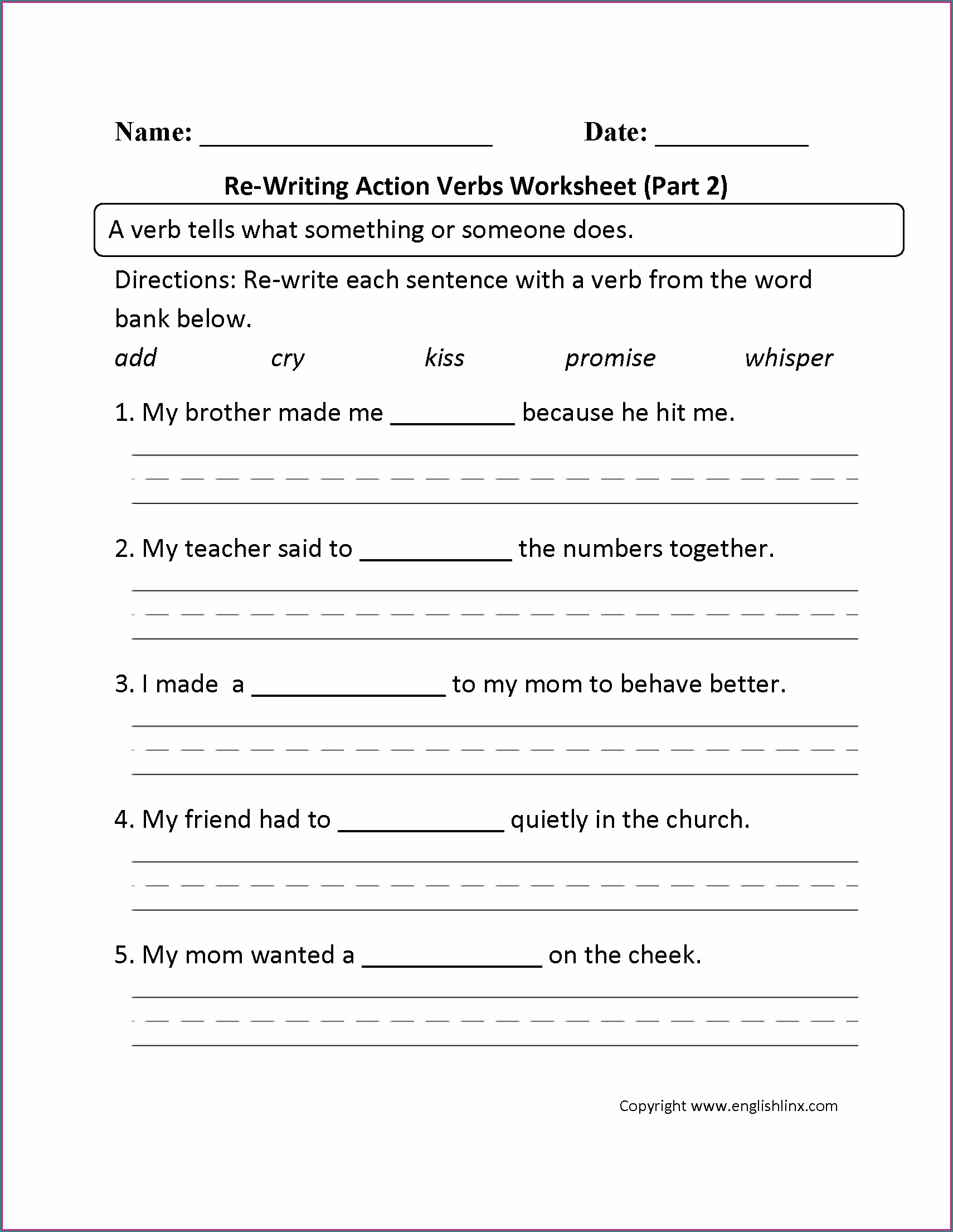 Action Verbs Worksheet Grade 2