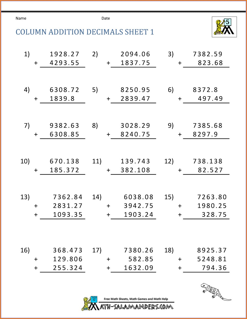 Adding And Subtracting Decimals Word Problems Worksheets 5th Grade Pdf
