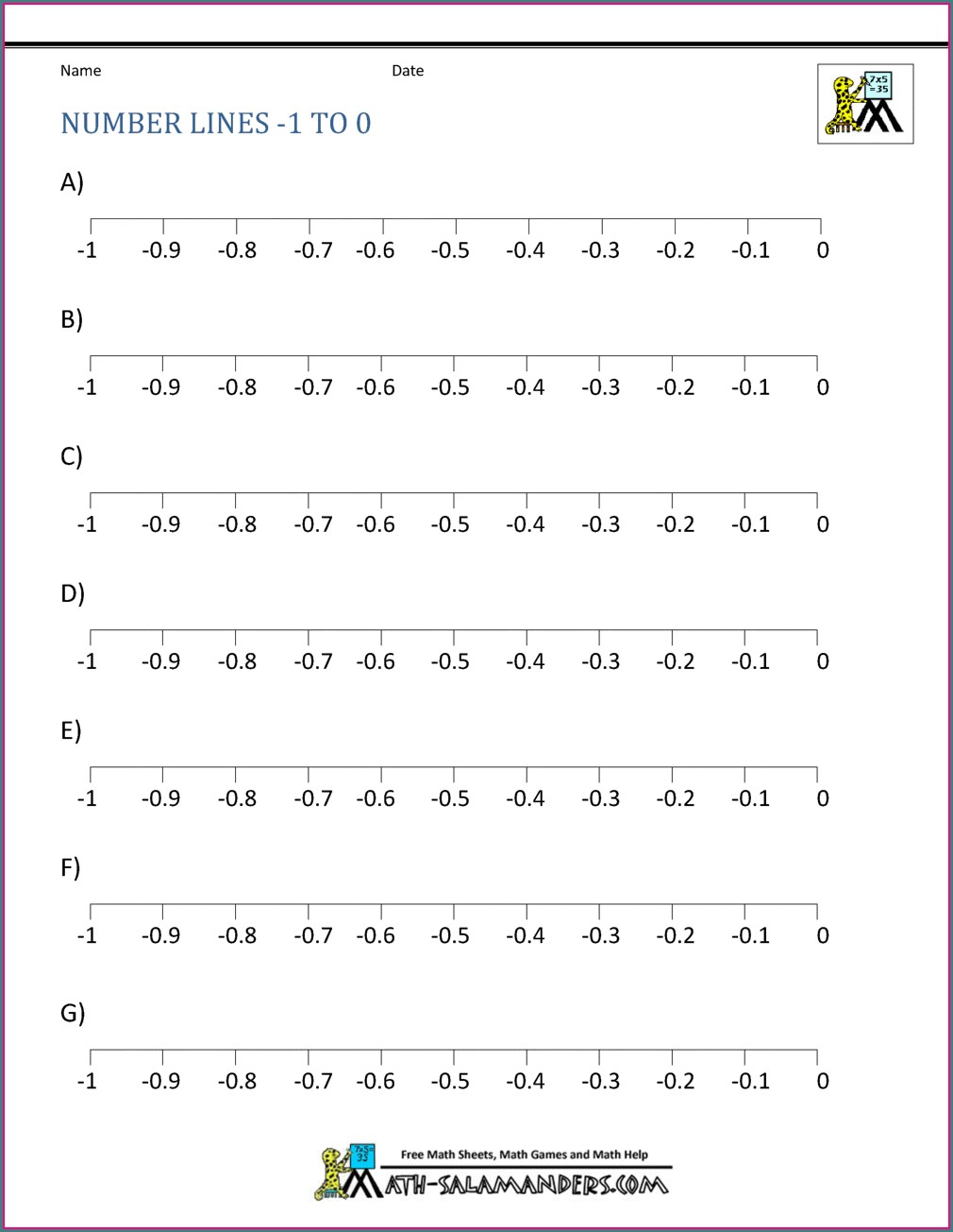 Adding And Subtracting Negative Numbers Worksheet With Number Line