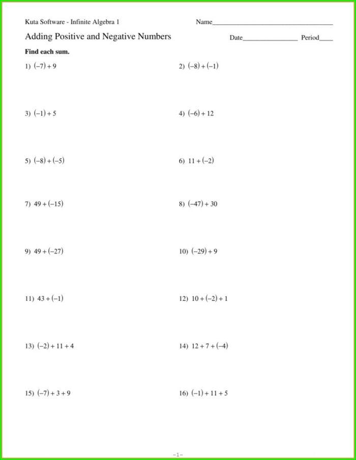 Adding Positive And Negative Numbers Worksheet Kuta