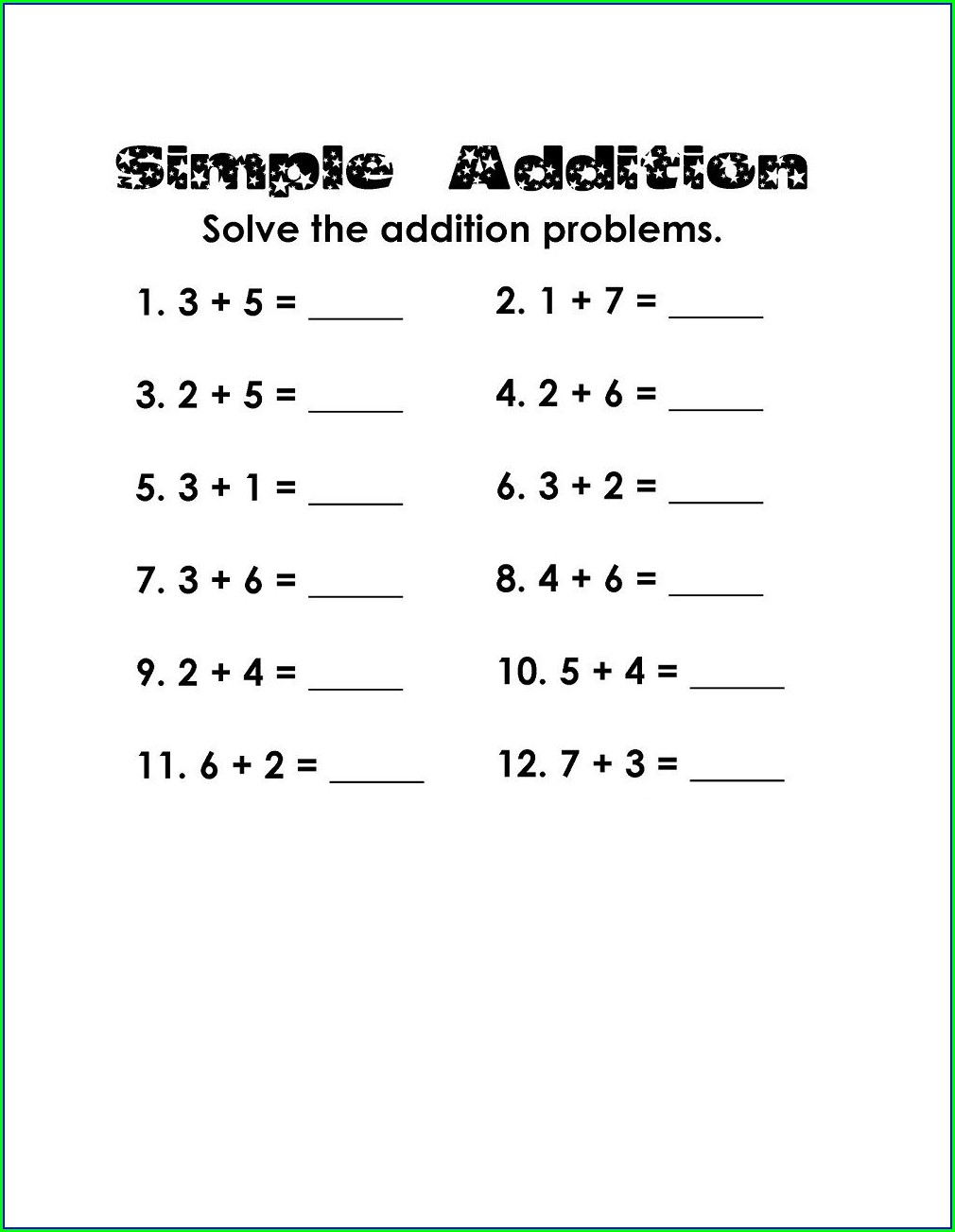 Addition Printable 1st Grade Math Worksheets