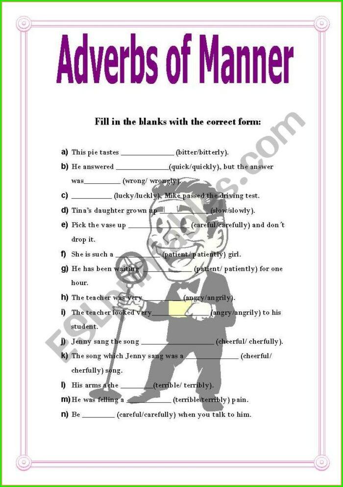 Adverbs Of Manner Worksheets Grade 2