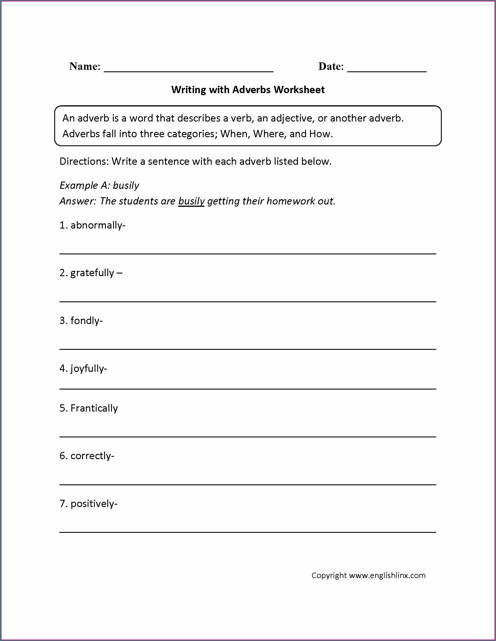 Adverbs Worksheet For Grade 5 Pdf