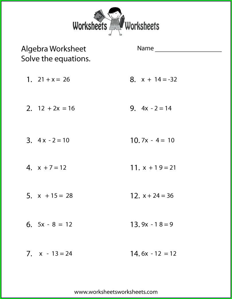 Algebra Equations Worksheet Grade 6