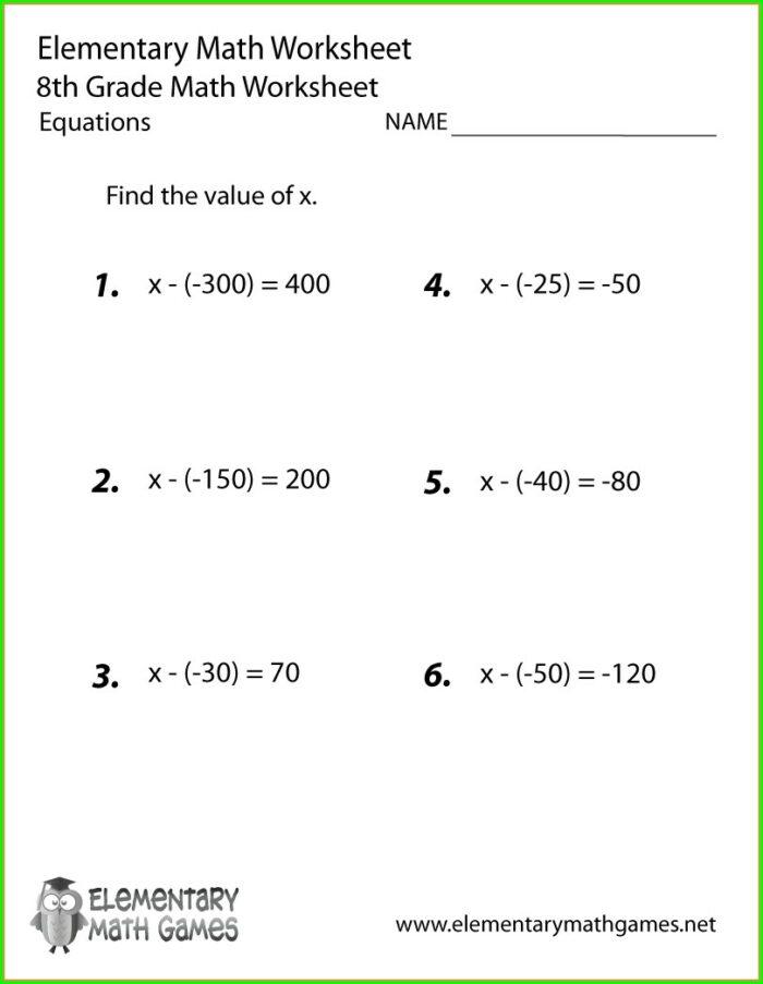 Algebra Grade 8 Math Worksheets