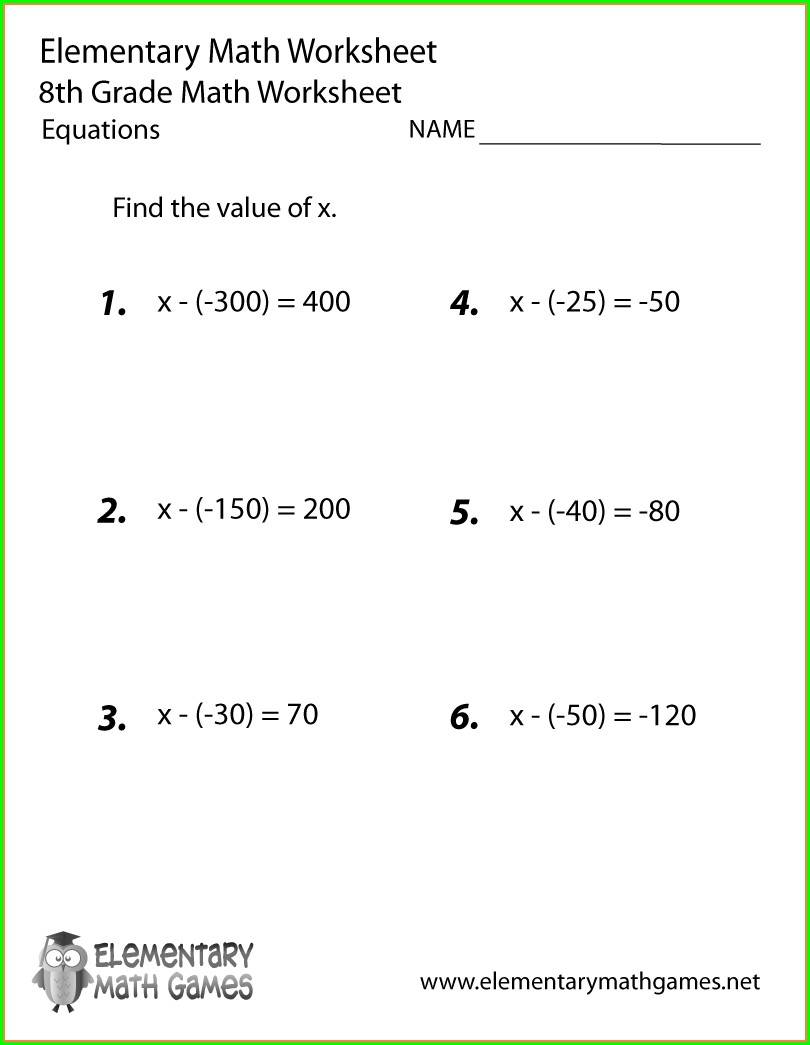 Algebra Grade 8 Math Worksheets
