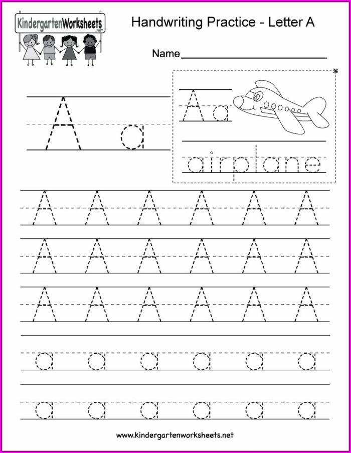 Alphabet Writing Worksheet For Kindergarten