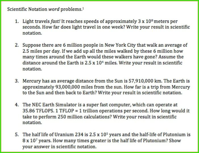 Answer Key Scientific Notation Word Problems Worksheet