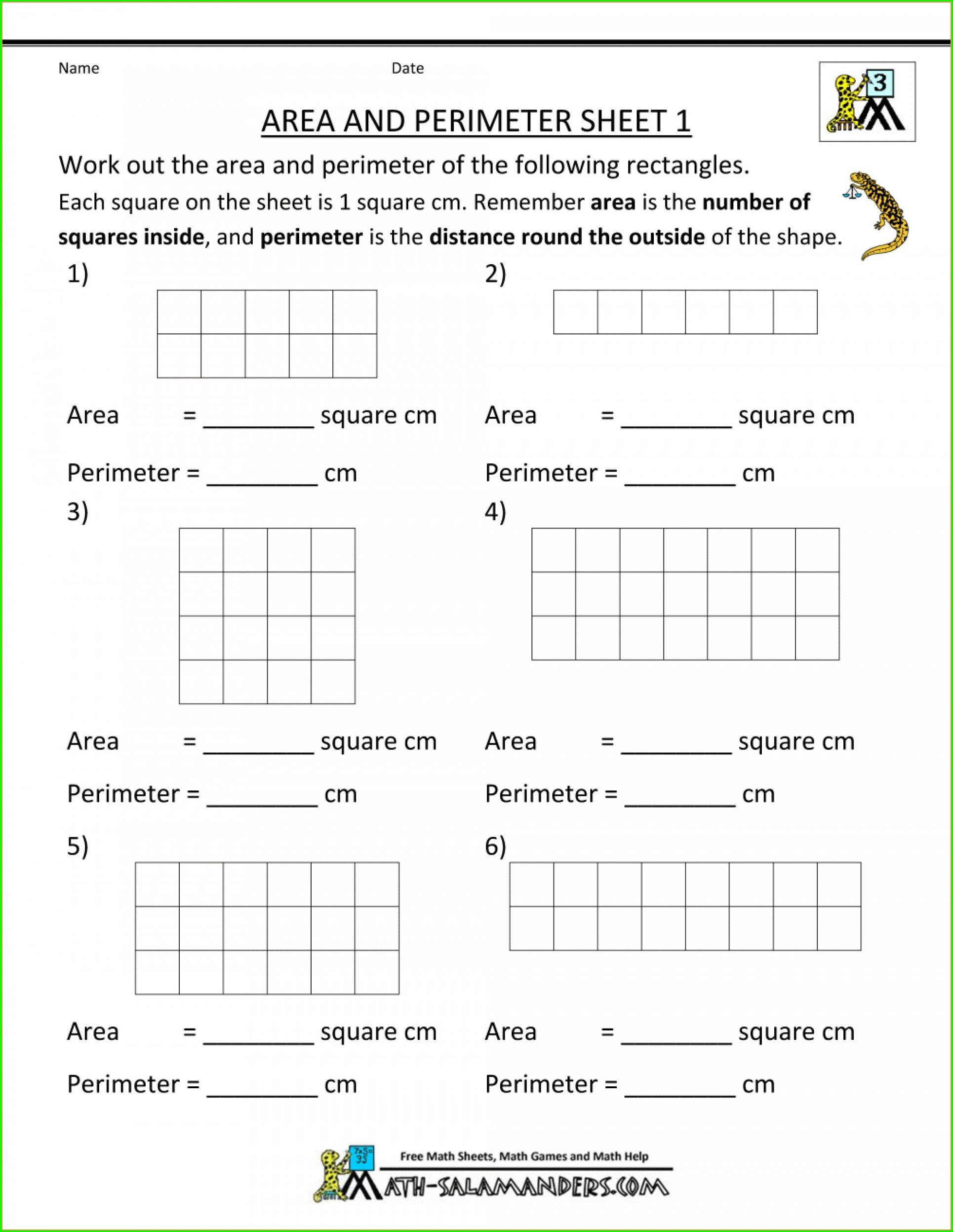 Area And Perimeter Word Problems Worksheets Grade 6