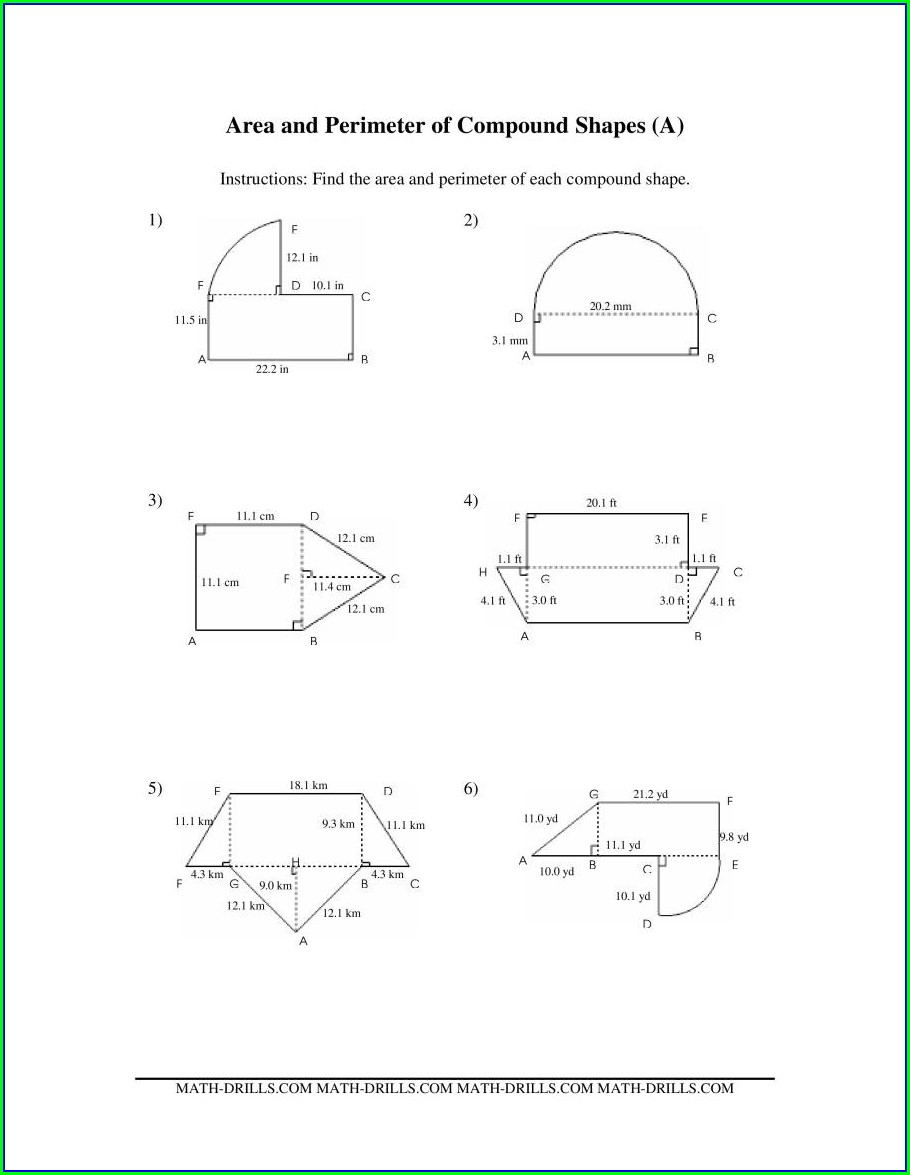 Area Of Irregular Shapes Worksheet Pdf Grade 7