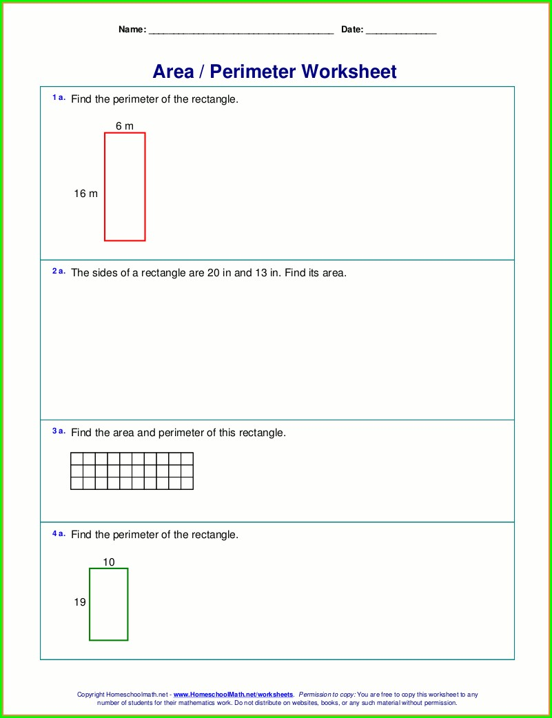Area Word Problems 3rd Grade Worksheet