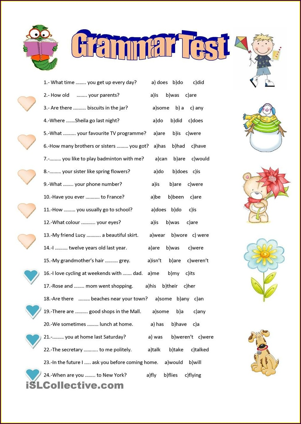 Basic English Grammar Worksheets