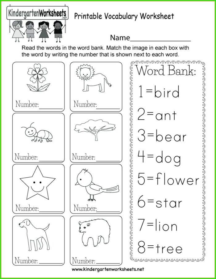 Beginner Kindergarten English Worksheets Pdf