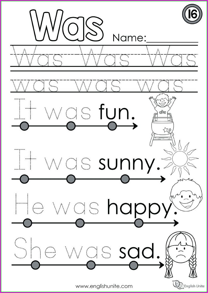 Beginner Kindergarten Language Arts Worksheets