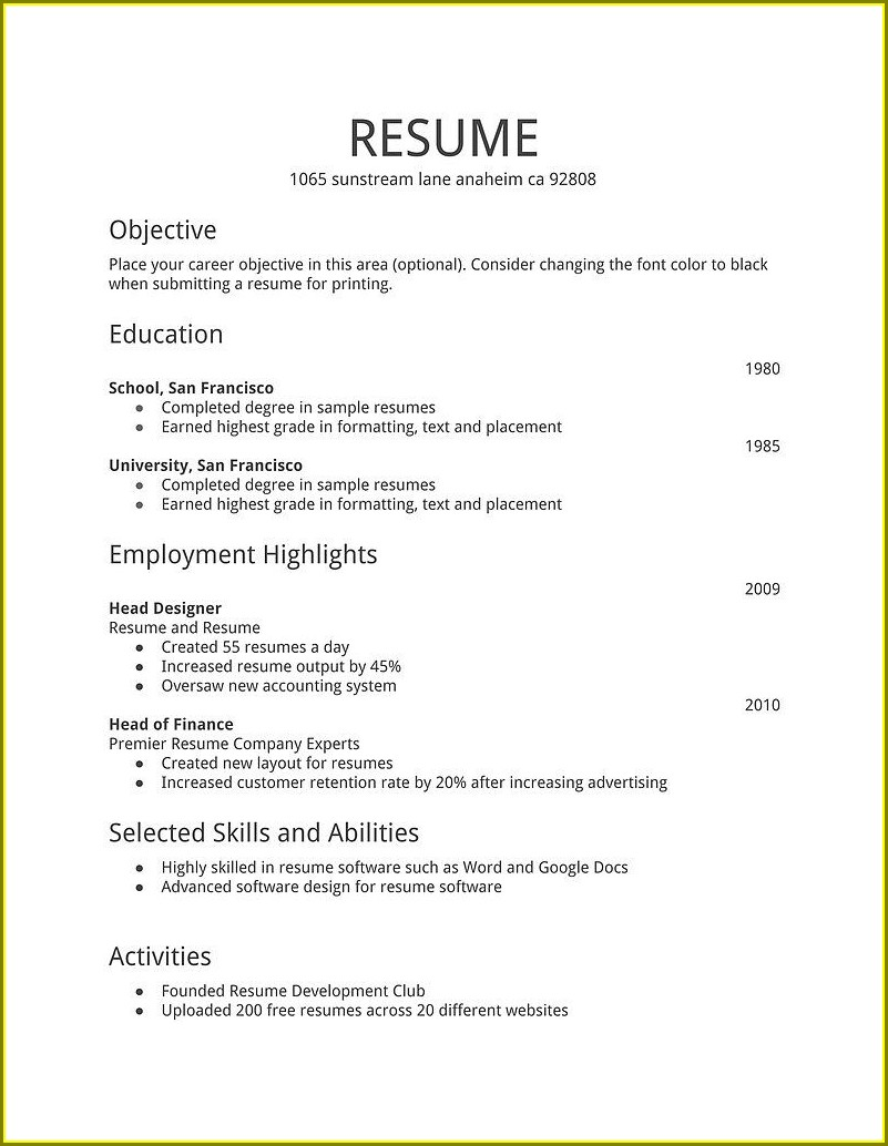 Beginner Sample Resume Format Download