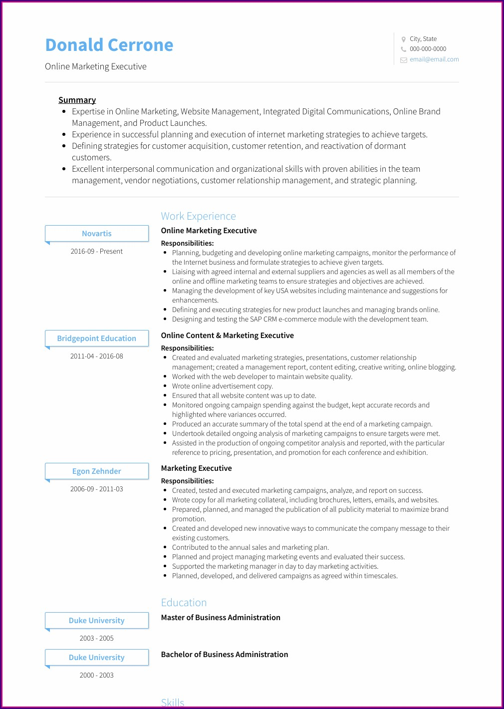 Best Executive Cv Samples