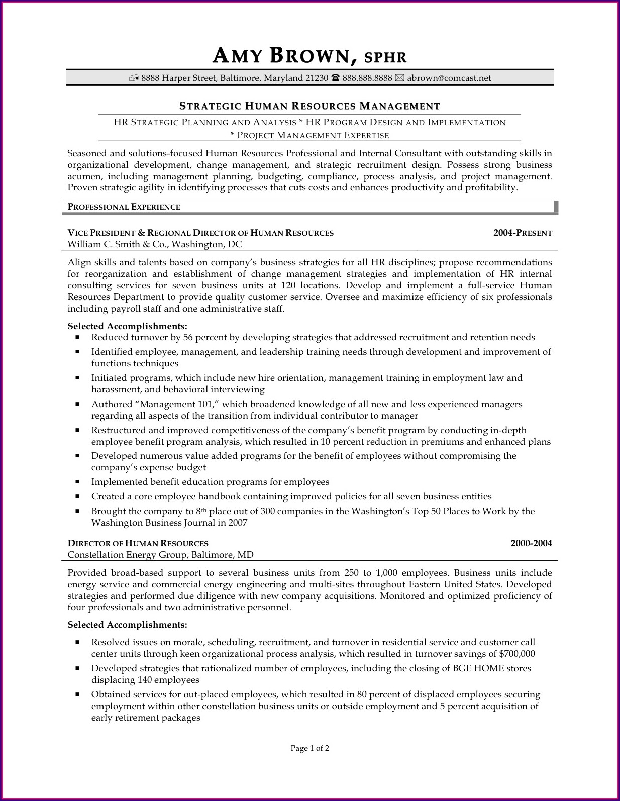 Best Hr Executive Resume Samples