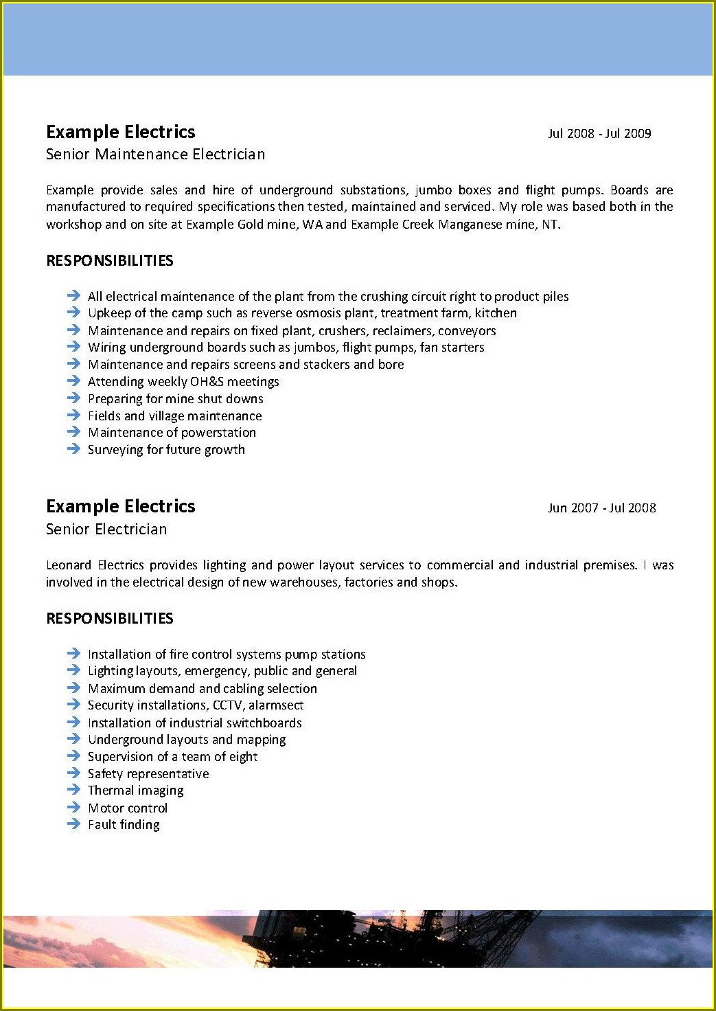 Best Resume For Electrician