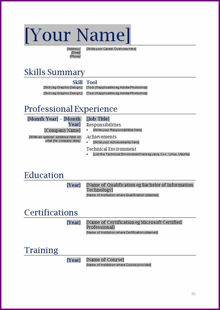 Best Resume Format In Word Free Download